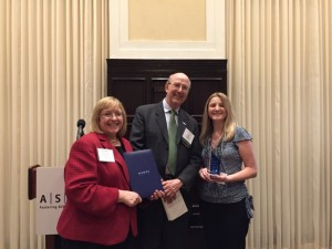 From left: Dee Ann Divis, Knight's editor, Roy Harris, ASBPE Foundation immediate past president, Rebecca Knight, 2018 Stephen Barr award winner.