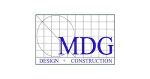 MDG Design and Construction logo.