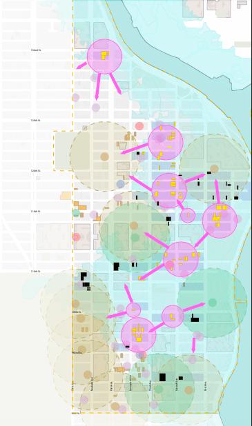 Map illustrating the East Harlem floodplain + nodes & networks critical to crisis response.