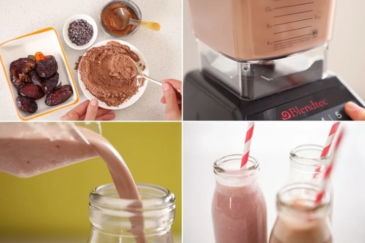 Cacao and dates being added back into the blender to make chocolate cashew milk