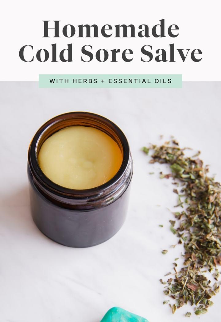 Homemade Cold Sore Salve with coconut, lemon balm, st john's wort, clove, peppermint and tea tree