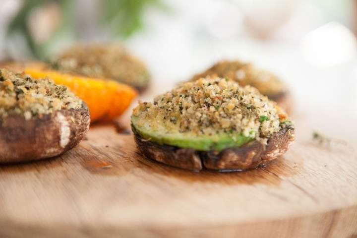 Avocado Herb Stuffed Mushrooms