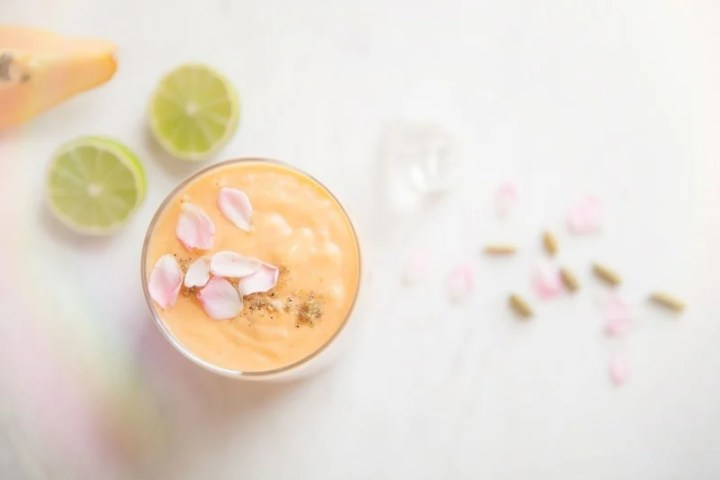 Dairy Free Papaya Lassi with Coconut Rose and Lime
