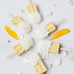 Mango Coconut Milk Popsicle infused with Relaxing Herbs - sugar free, dairy free