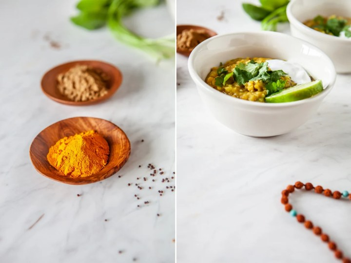 Two photos side by side, one showing colourful spices in wooden dishes, the other showing a bowl of cleansing Kitchari - also known as Kitcheri