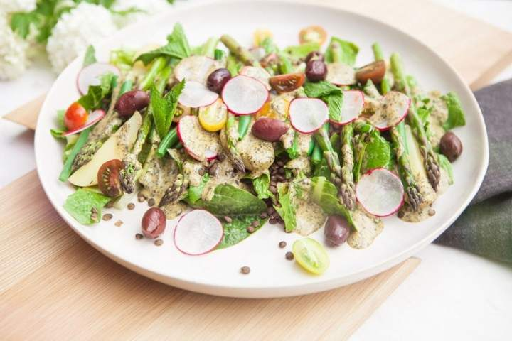 Vegan lentil nicoise salad recipe plated and ready to serve.