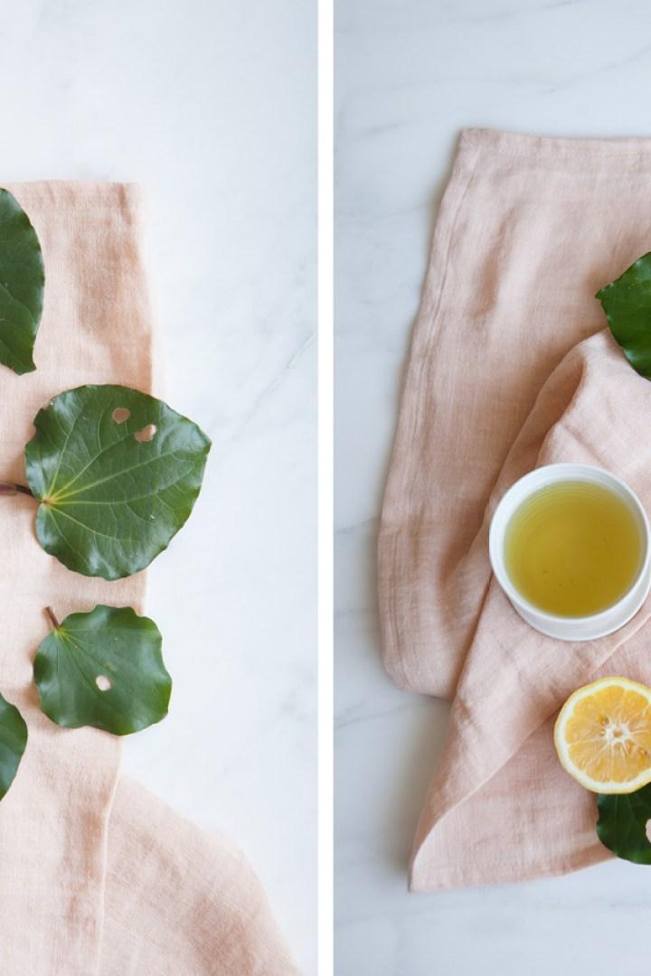 Kawakawa leaves spread over a napkin ready to make Kawakawa tea