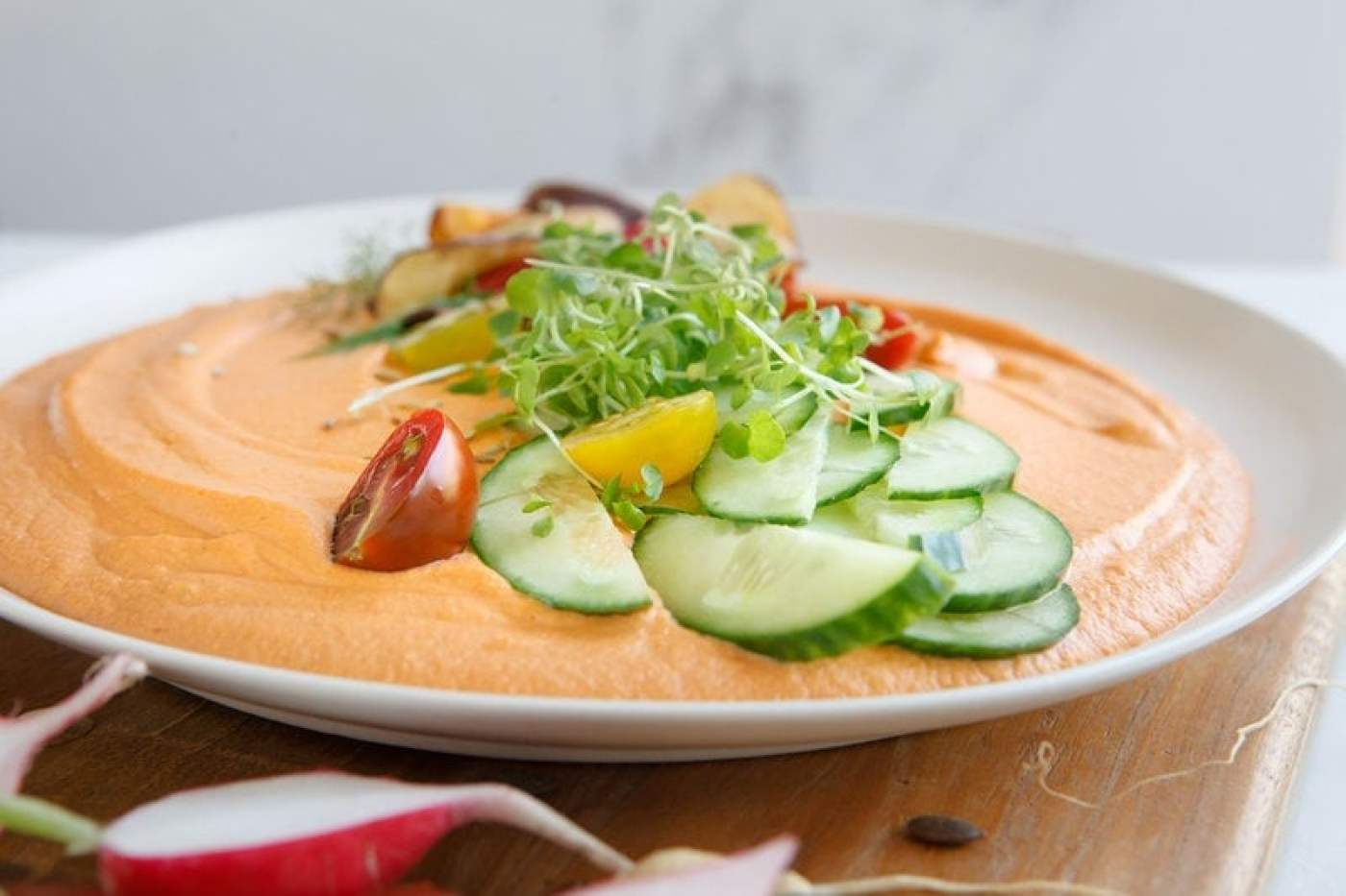 Chargrilled Capsicum Hummus with Cashews and Miso