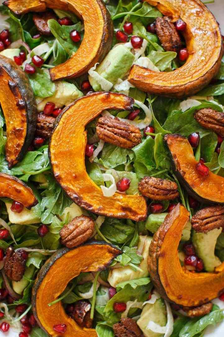 Detail of the kabocha squash in amongst the other salad ingredients