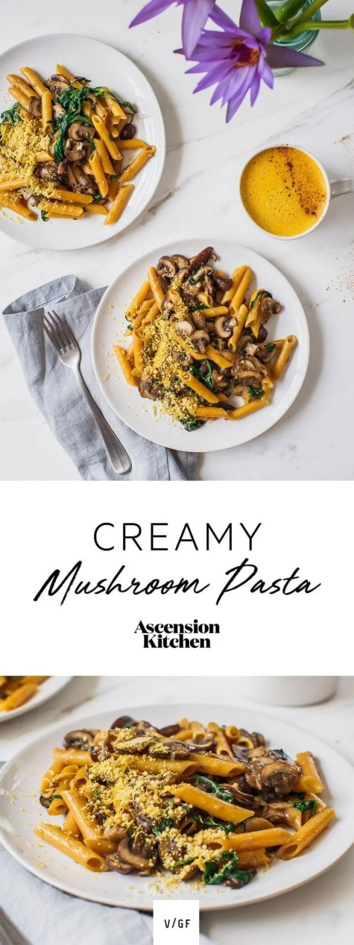 A quick and simple vegan Creamy Mushroom Pasta made with gluten free red lentil penne. ~ Vegan mushroom pasta recipe, gluten free pasta recipe ~ #AscensionKitchen // Pin to your own inspiration board! //