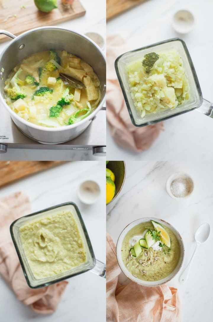 More step by step photos showing how to prepare celeriac soup