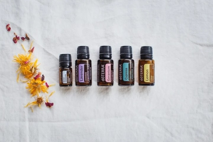 A selection of essential oils for a facial steam