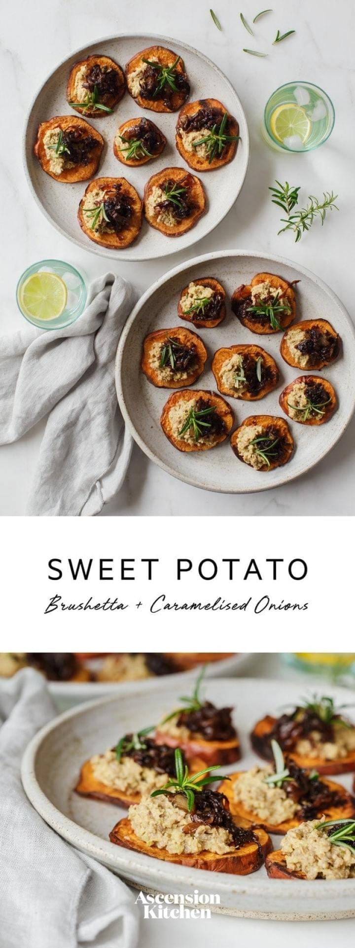 Sweet Potato Bruschetta with Caramelised Onion