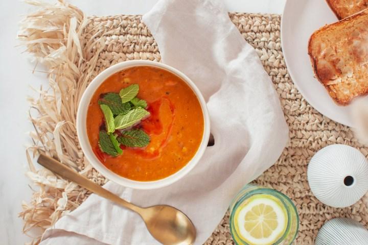 Bowl of Turkish Lentil Soup on a raffia table mat