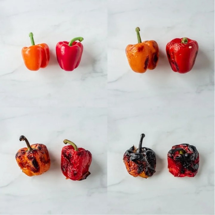 Four images showing capsicum progressively getting blackened