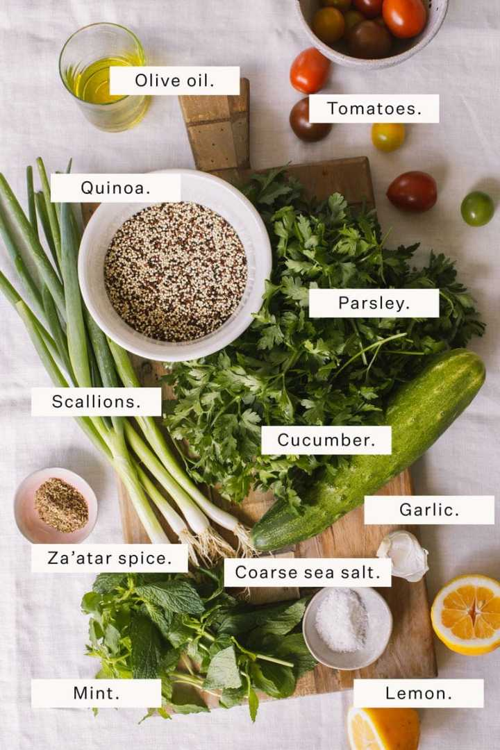 Flat lay of ingredients needed to make quinoa tabbouleh