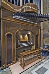 The baroque (mechanical) console of the Manton Memorial Organ