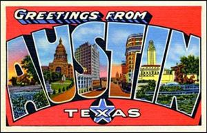 Greetings from Austin Texas postcard