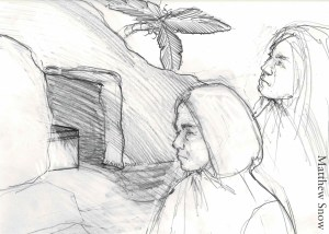 Drawing of the two Marys at the empty tomb