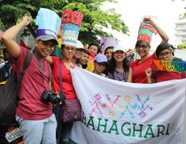 Members of the LGBTQ community from Bahaghari show their support for workers' rights.