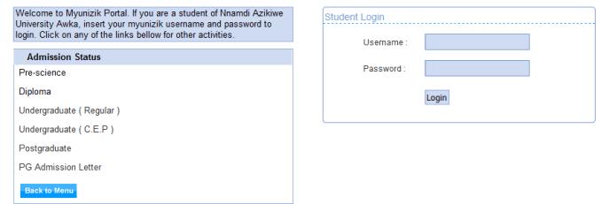 Unizik Portal