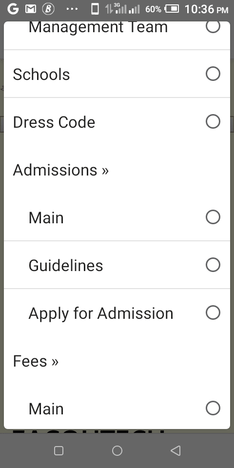 Click on Admissions on the menu EACOHTECH