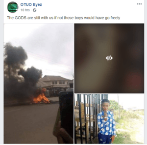Two alleged yahoo boys, native doctor, kidnapper burnt alive in Edo State for allegedly killing 17-year-old girl (graphic photos)