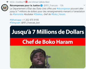 US Department of State offers $7m reward to anyone with information that will lead to Boko Haram leader, Abubakar Shekau's arrest