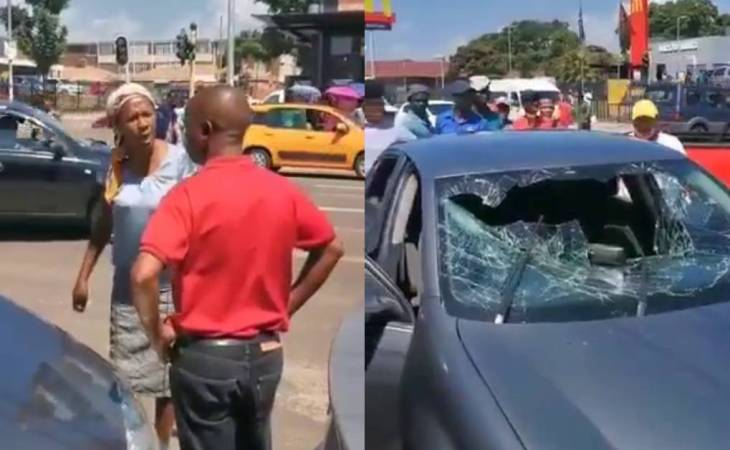 (Video) Coronavirus: Woman catches her Husband quarantining with his girlfriend, Destroys his car 1