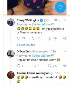 Adesua Etomi Grabs Her Husband Banky W, As She Watches Him Play FIFA Game During Quarantine (PHOTOS) 9