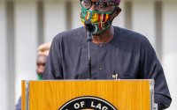 Moments Gov. Babajide Sanwo-Olu rocked locally made facemasks (Photos)