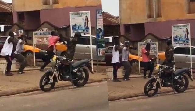 (Video) Ghanaian man slaps Soldier for Punishing over stay at home order (video) 1