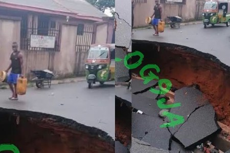 Road Sinks After Heavy Downpour in Abia State 1