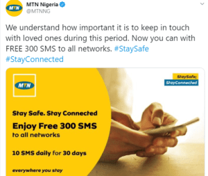 Lock Down: MTN gives out 300 Free SMS to all Networks for 30 days (photo) 3