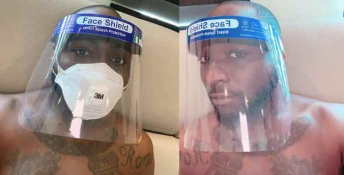 """No be me and you"" – Davido says as he shows off his face mask and face shield"