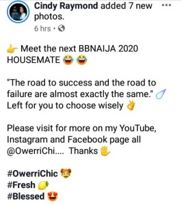 Meet the next BBNAIJA 2020 HOUSEMATE | Cindy Raymond (OwerriChi)