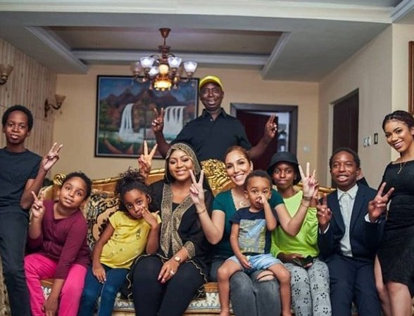 Ned Nwoko shows off his wives and children (photo)