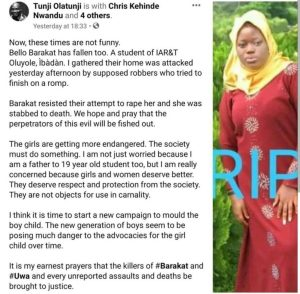 Another Female Student Killed For Refusing To Be Raped In Ibadan 1