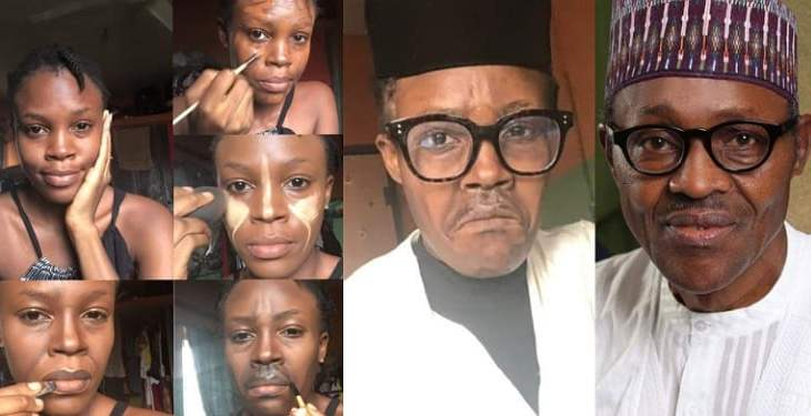WOW... Nigerians react as talented makeup artist paints her face to look like Buhari (Photos)