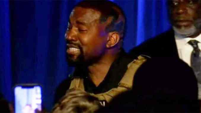 Kanye West breaks down in tears at his first presidential campaign while speaking about abortion andhow he almost encouraged Kim to abort their daughter, North (Video) 1