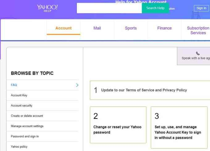 Yahoo mail password reset