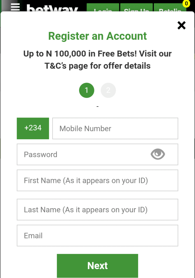 BetWay Nigeria Registration