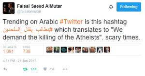 Faisal tweet 'Killing of atheists'