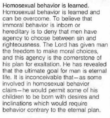 Homosexual behavior is learned Mormon Leaks Mormonism Church of latter day saints