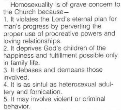 Homosexuality is of grave concern Mormon Leaks Mormonism Church of latter day saints