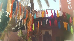 Dyed wool hanging to dry