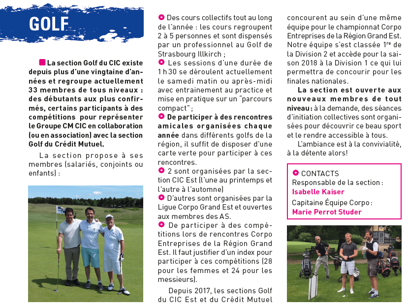 Extrait gazette Golf