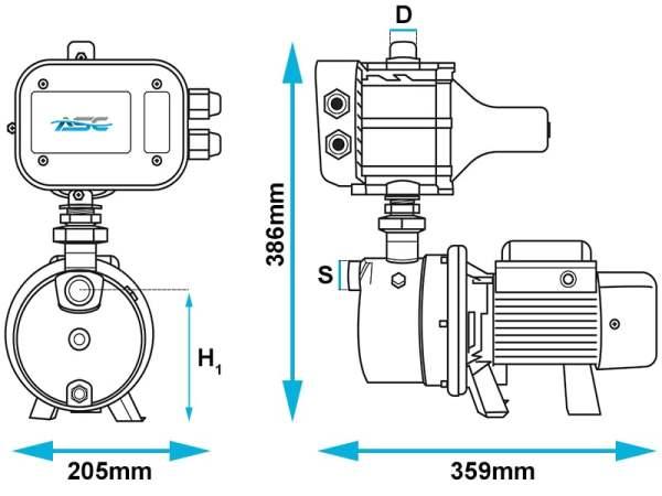 ASC J40/60 JET Domestic Pump Dimensions