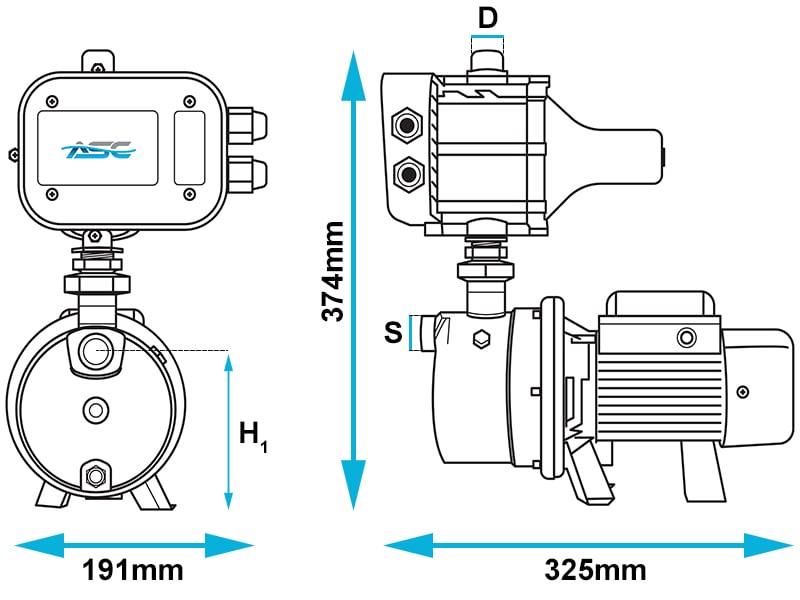 ASC J35/50 JET Domestic Pump Dimensions