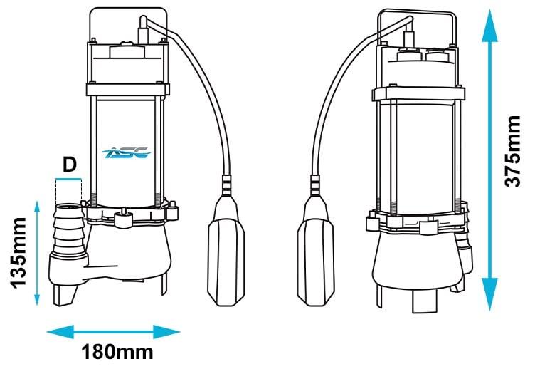ASC D18VA Vortex Drainage Sump Pump Dimensions